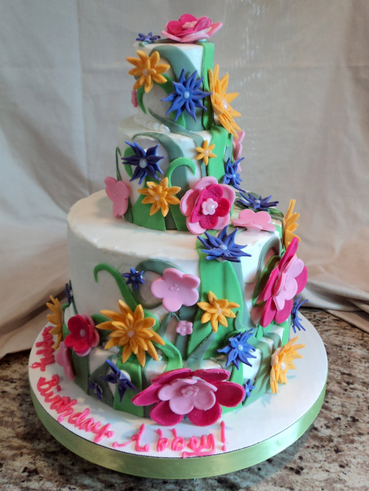 Delectable Cakes Flower Birthday Cake