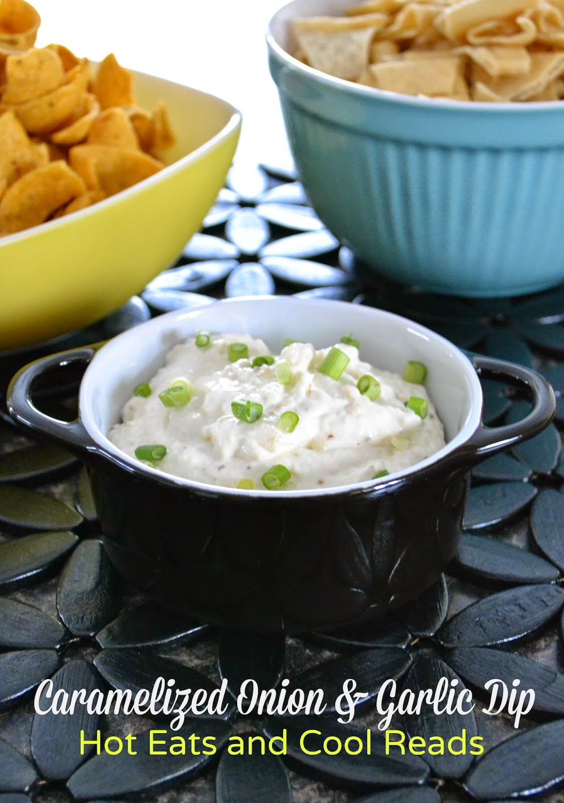 Serve this amazing dip at your next party! It is a crowd pleaser! Caramelized Onion and Garlic Chip Dip from Hot Eats and Cool Reads!