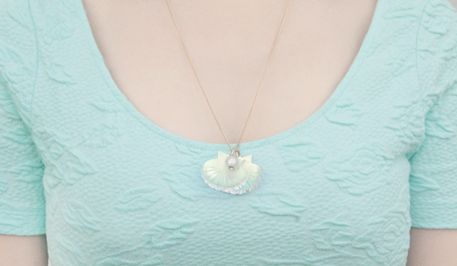 tatty devine, shell necklace, mermaid