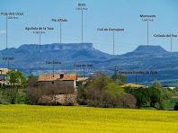 En primer terme les masies de Can Borra, Cal Vell, la Casa de alt i les antigues Escoles de Gurb. Al seu darrere el Pla d'Aiats i el Montcalm