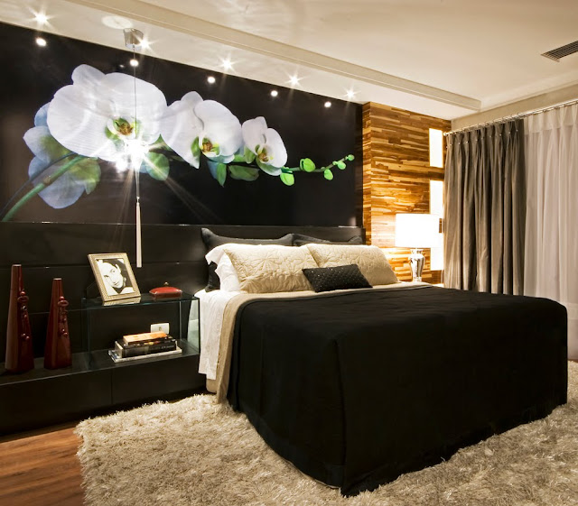 quarto de casal, preto e branco, cama box
