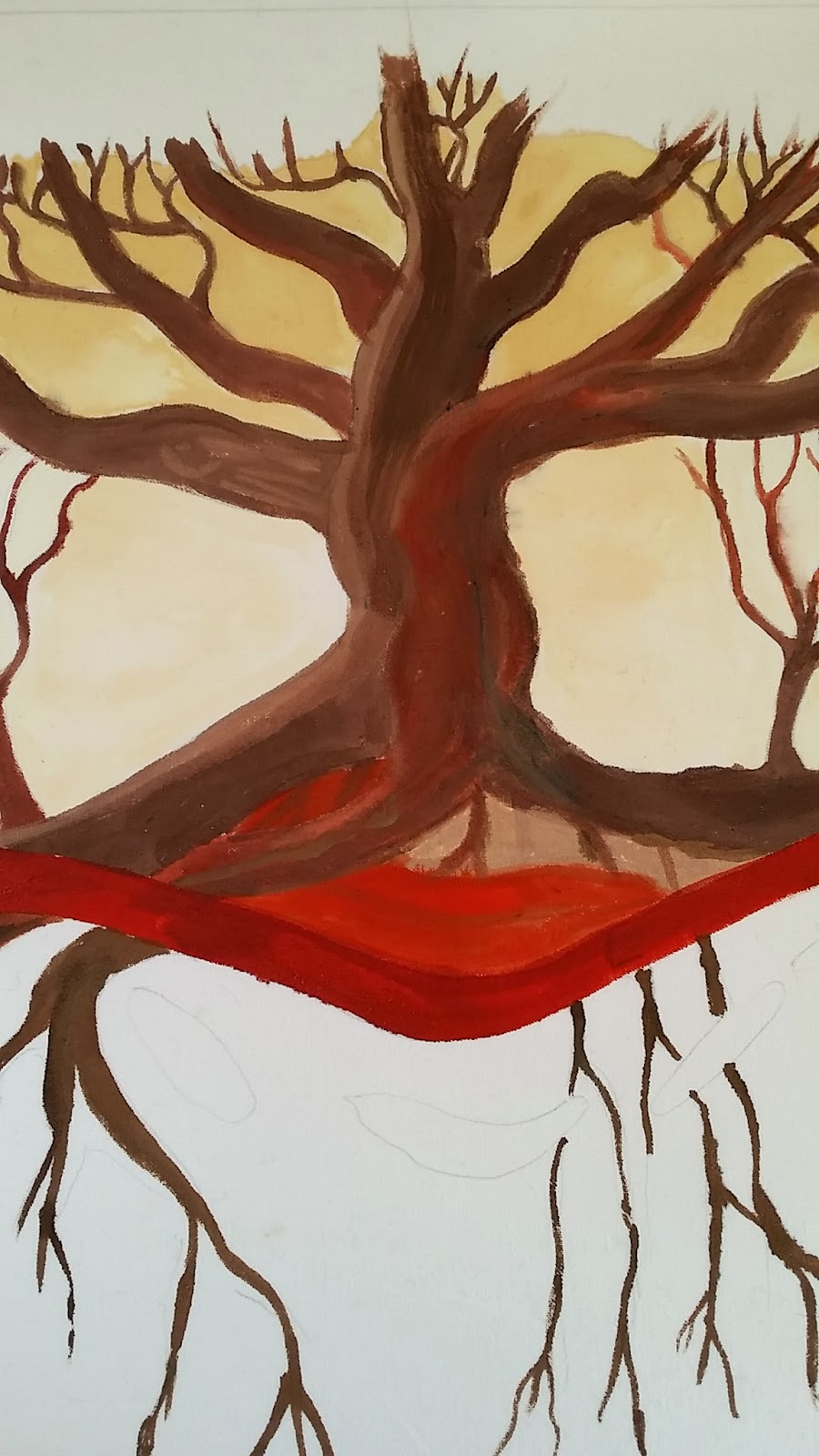 tree painting with acrylic inks on fabric