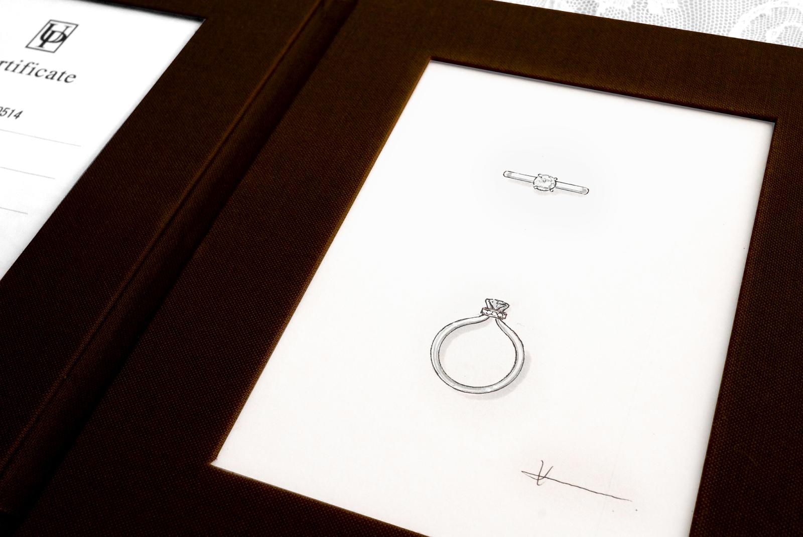 リフォーム(リスタイル)したエンゲージリング(婚約指輪)のデザイン画をプレゼント。