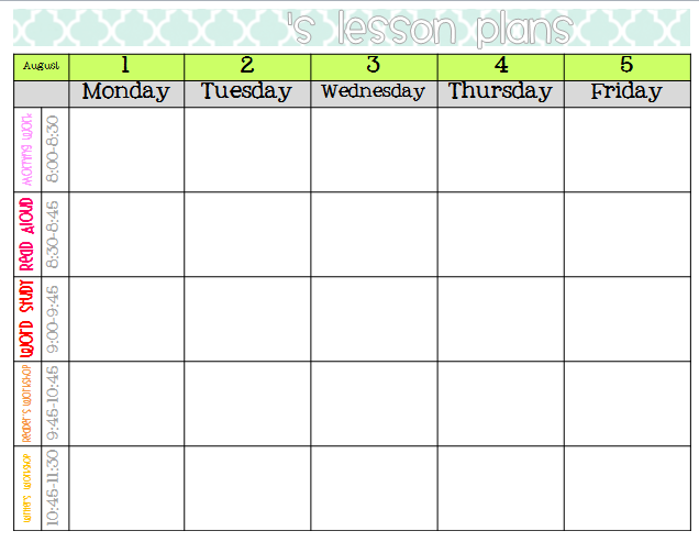 Fan image with regard to free printable weekly lesson plan template