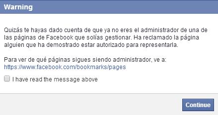 notificación facebook fusión páginas