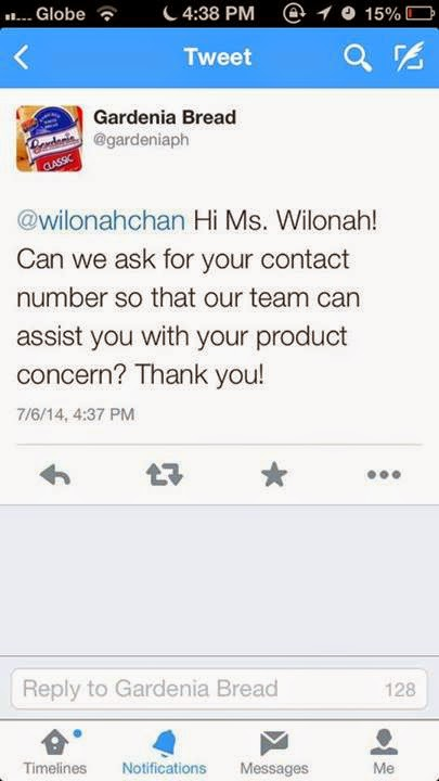 Gardenia Philippines tweeted back to Ms. Wilonah