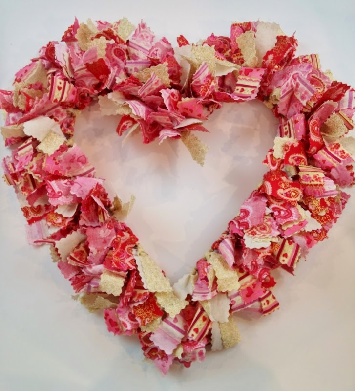 Shabby Fabrics | DIY Scrappy Heart Wreath