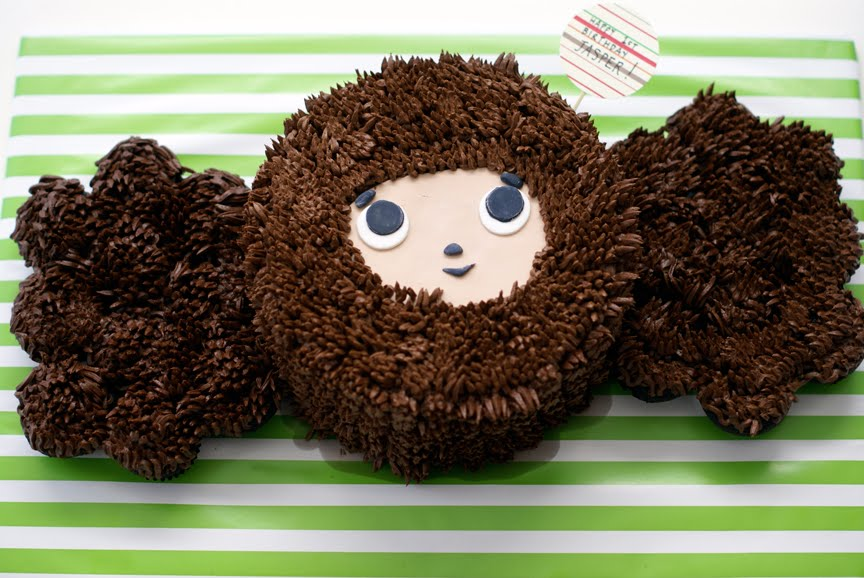Cheburashka cupcake cake for Jasper