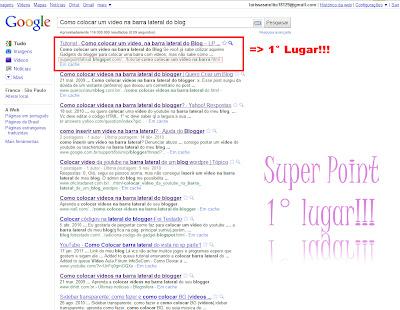 SEO, como colocar um vídeo na barra lateral do blog, superpoint em primeiro lugar!!!