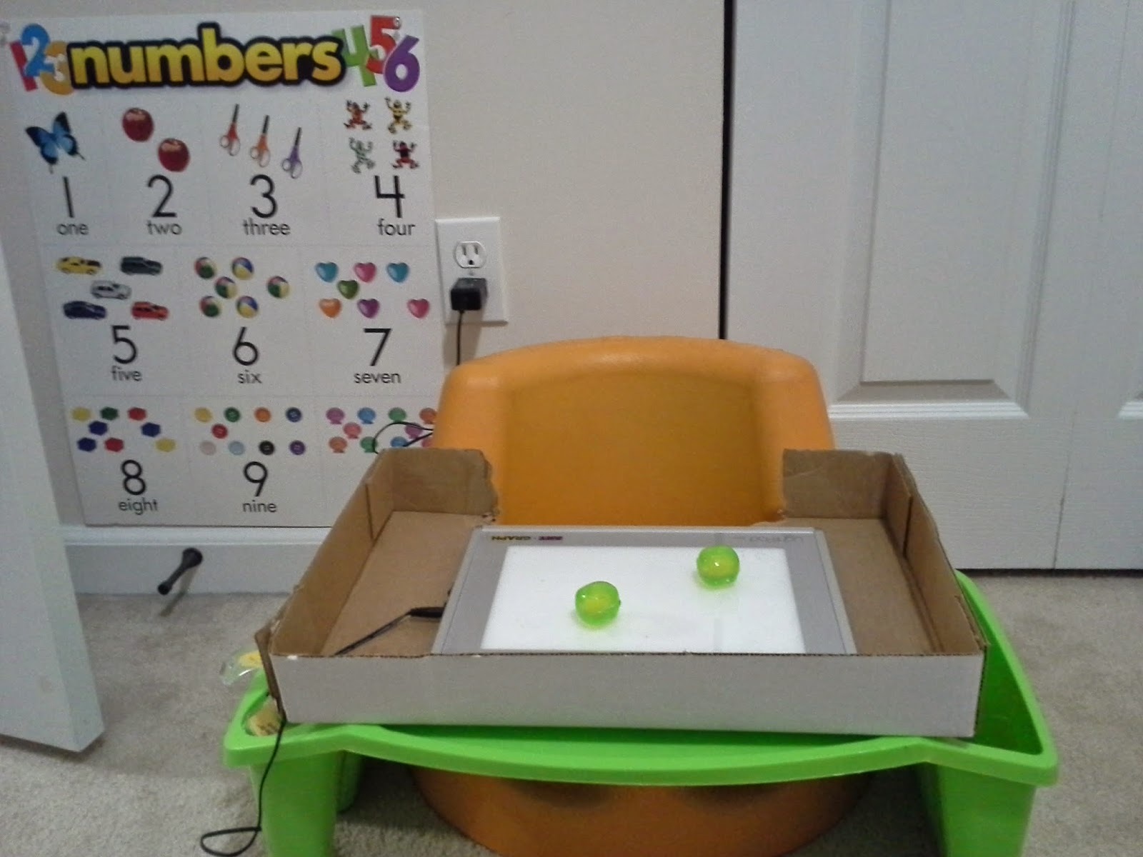 Using a lightpad and manipulatives to teach numbers to kids with low vision