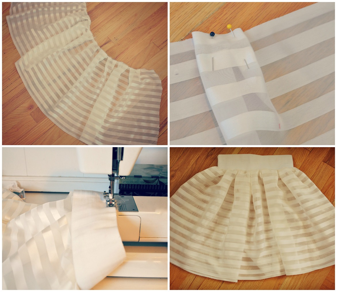 trash to couture diy curtains sewn pleated skirt