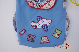 Detalle de la mochila de tela personalizada Izan Pikapic