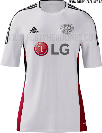 And Bayer Leverkusen have three options of kits for 2014-15 (order –  home/road/third).