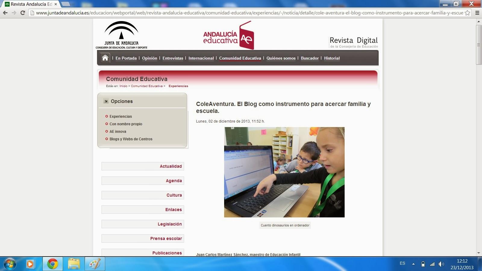 Cole Aventura en la revista Andalucía Educativa