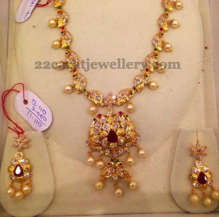 CZ Kundan Necklace With Pearls Jewellery Designs