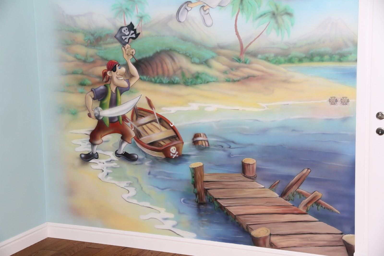 artystyczne malowanie bajki na ścianie w pokoju chłopca. Piotruś Pan,Warszawa