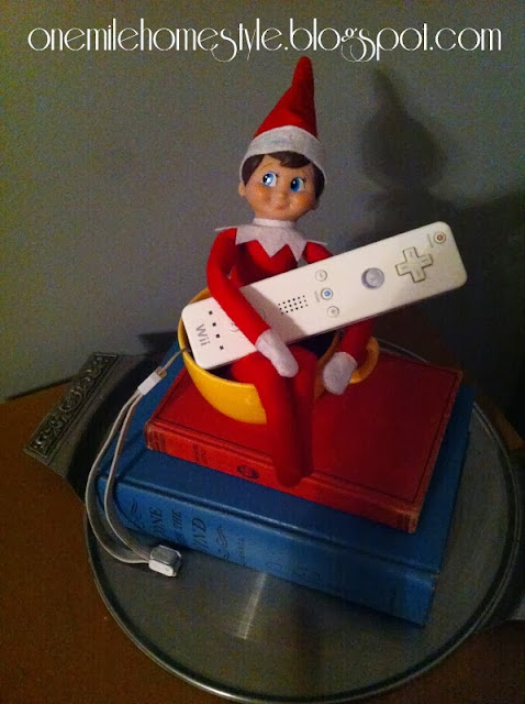 Elf on the Shelf playing the Wii