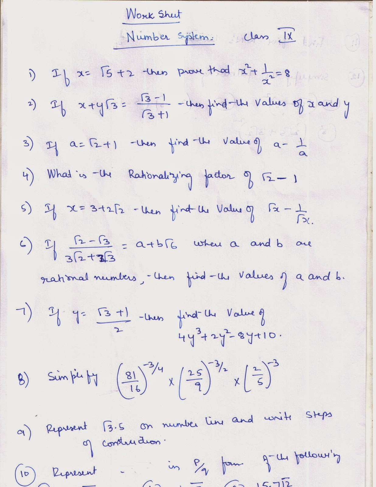 APSG Worksheet on Number System – The Number System Worksheet