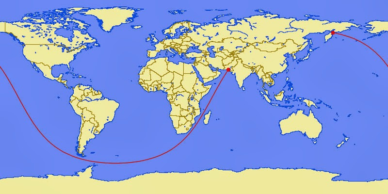 40 Maps That Will Help You Make Sense of the World - The Longest Straight Line You Can Sail on Earth (Pakistan to Kamchtatka Peninsula, Russia - 20000 miles)