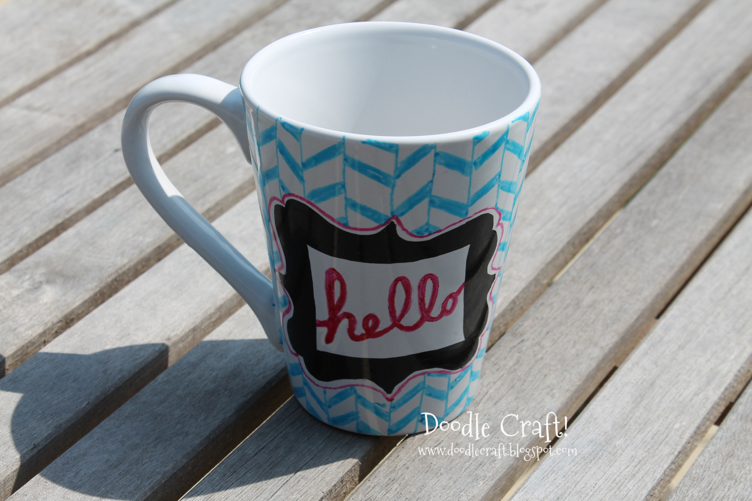 Doodlecraft customize your mug with glass paint markers for Craft smart paint pen on mugs