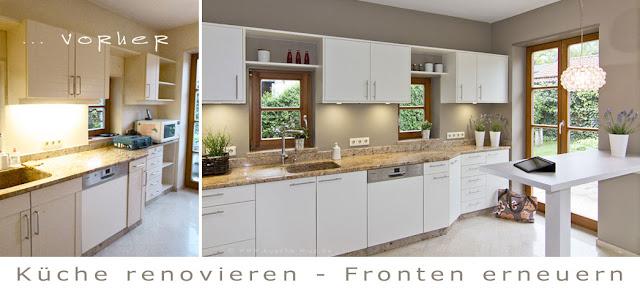 Küchenrenovierung vorher - nachher im modernen Landhausstil. Eine Küche wie neu durch moderne Haushaltsgeräte, Dunstabzug und neue Fronten.