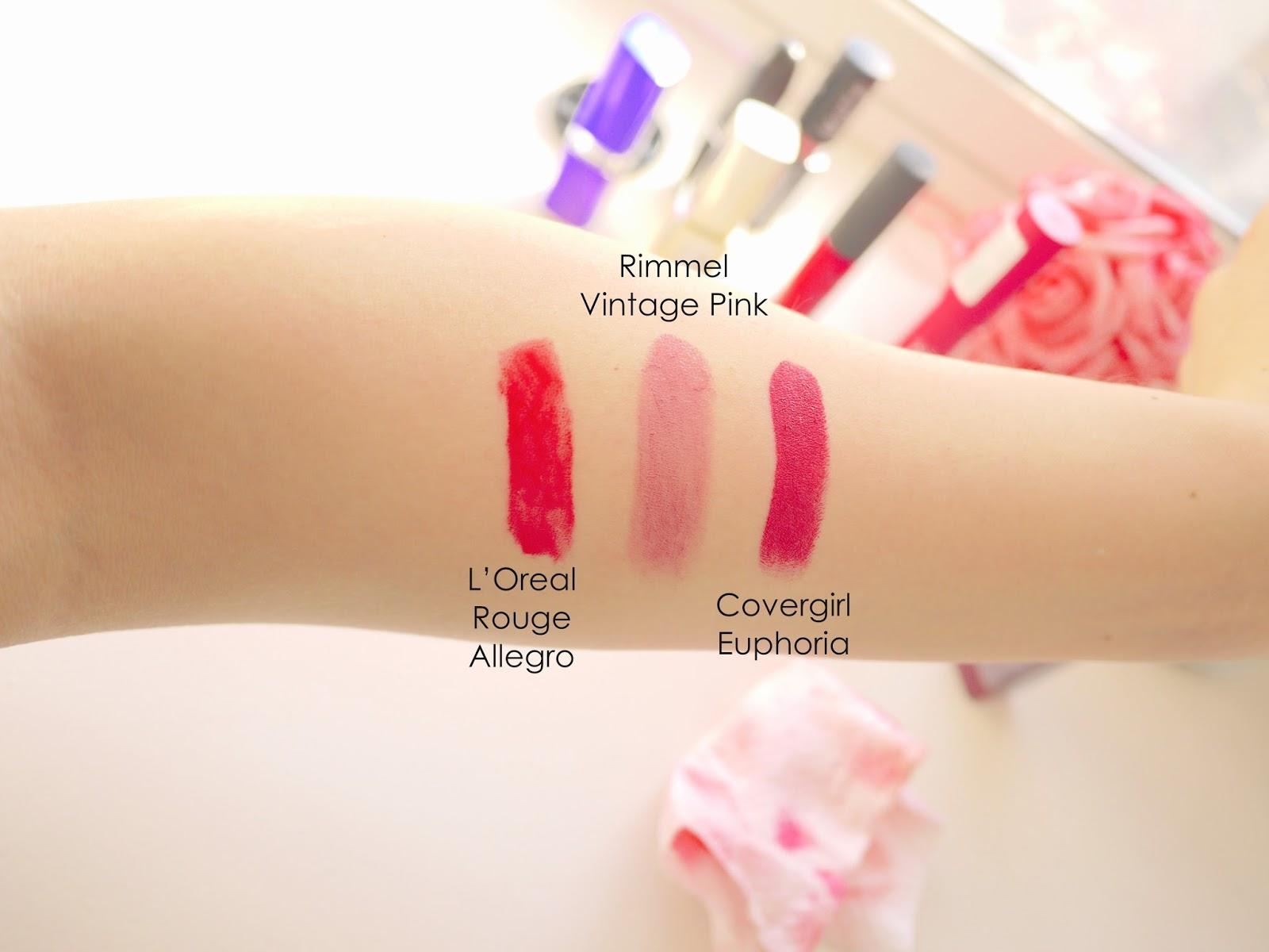 l'oreal rouge allegro rimmel vintage pink covergirl euphoria statement lipsticks swatchs
