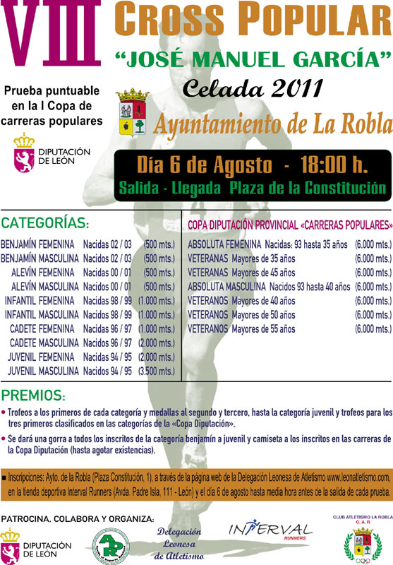 """VIII Cross Popular """"José Manuel García"""" - 6 Km - La Robla, sábado 6 de Agosto a las 18:00 W_CARTEL_CROSS_larobla_2011"""