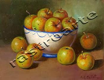 Bodegón con bol de cerámica decorada y manzanas