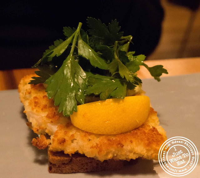 Image of Fish cake at Aamanns-Copenhagen in Tribeca, NYC, New York