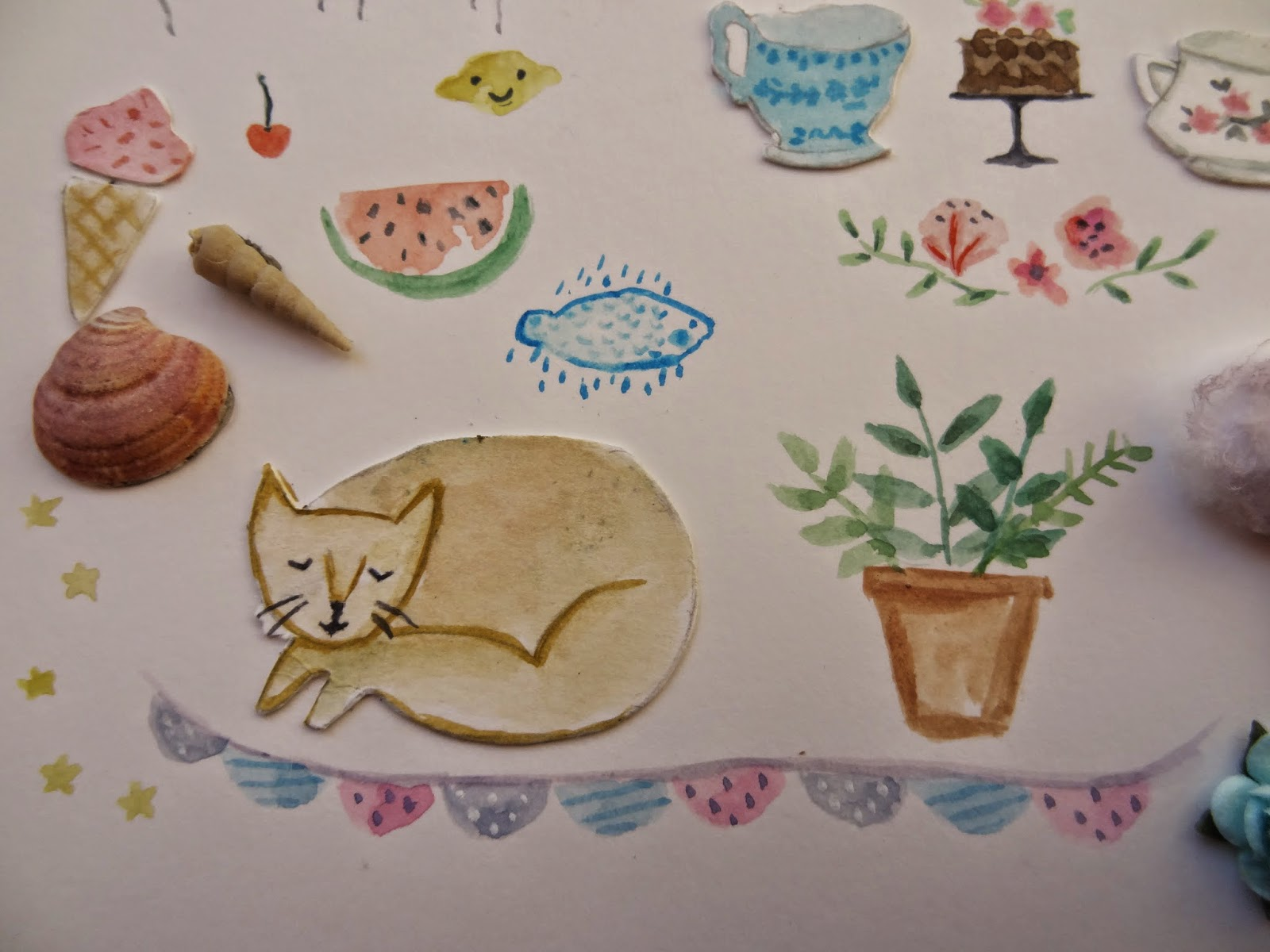 garland plants plantas lemon smile cats sweet naif craft manualidades ilustradora cherry ice cream  cup tea