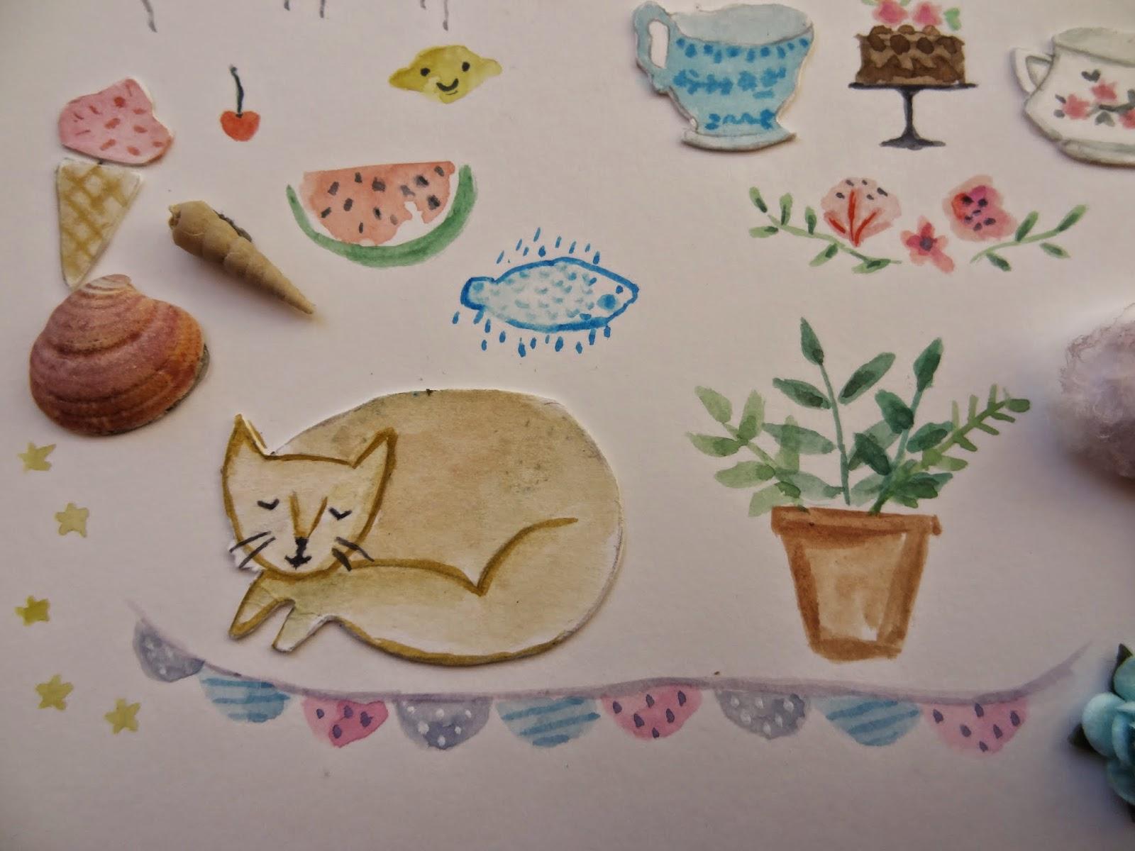 garland plants plantas lemon smile cats sweet naif craft manualidades ilustradora cherry ice cream  cup tea