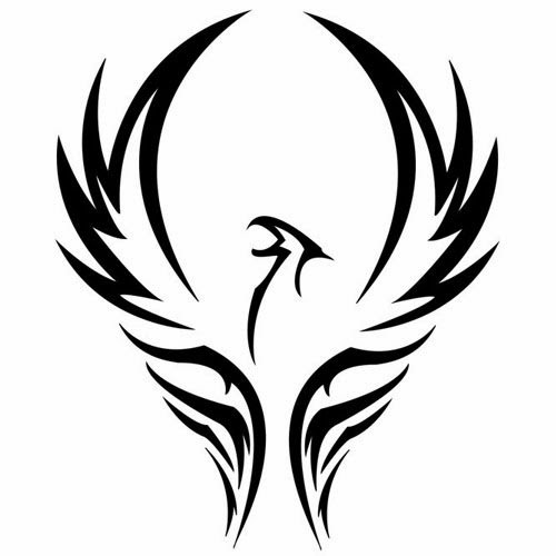 Phoenix tribal tattoo stencil