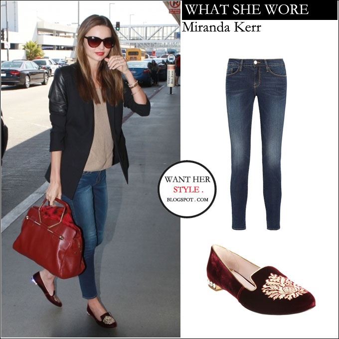 00bf13581ca WHAT SHE WORE  Miranda Kerr in dark red velvet embroidered slippers and  blue skinny jeans at LAX on April 26 ~ I want her style - What celebrities  wore and ...