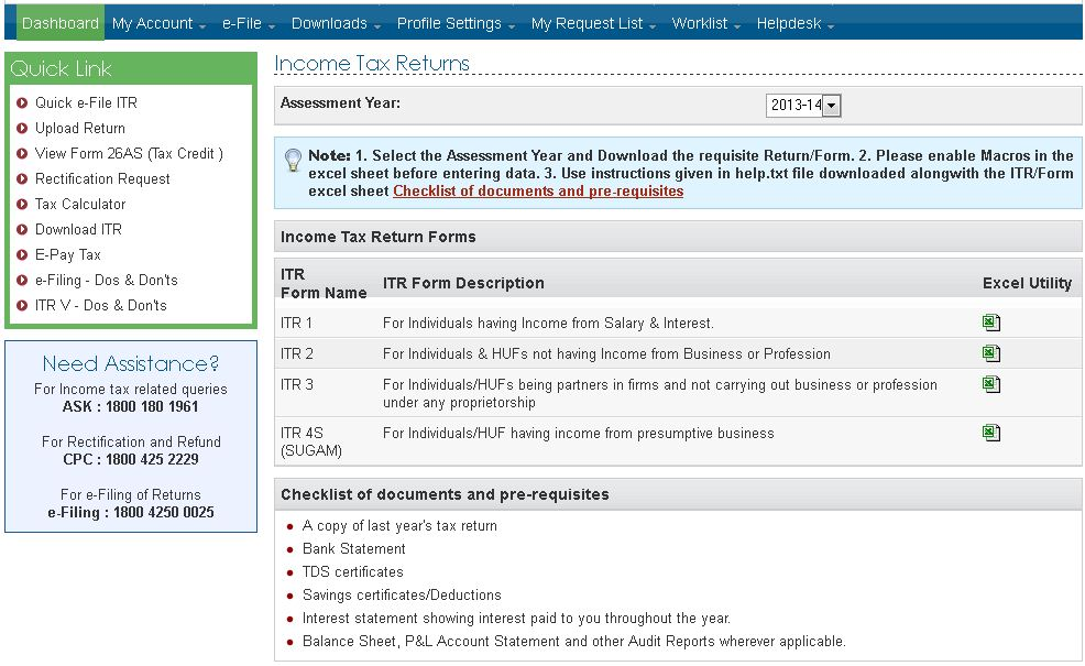 e-filing income tax return login