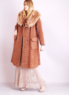 Vintage 1950's Lilli Ann brown wool swing coat with fox fur collar.