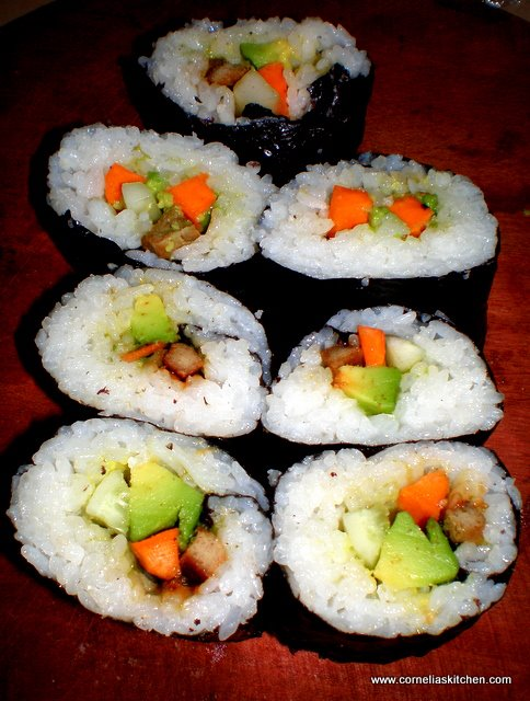 made homemade vegetarian california rolls sushi on 27 Sept 2011 and ...