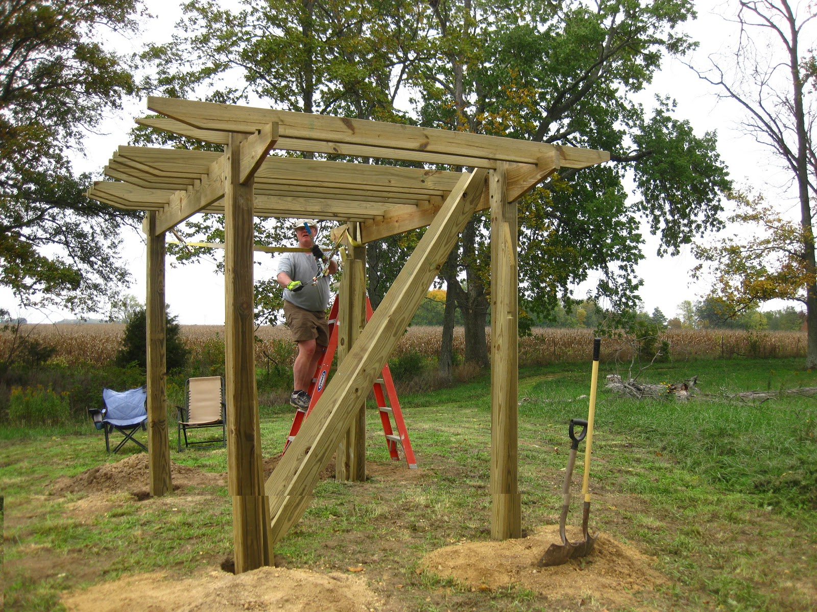 Have table will travel pergola assembly part one for Parts of a pergola