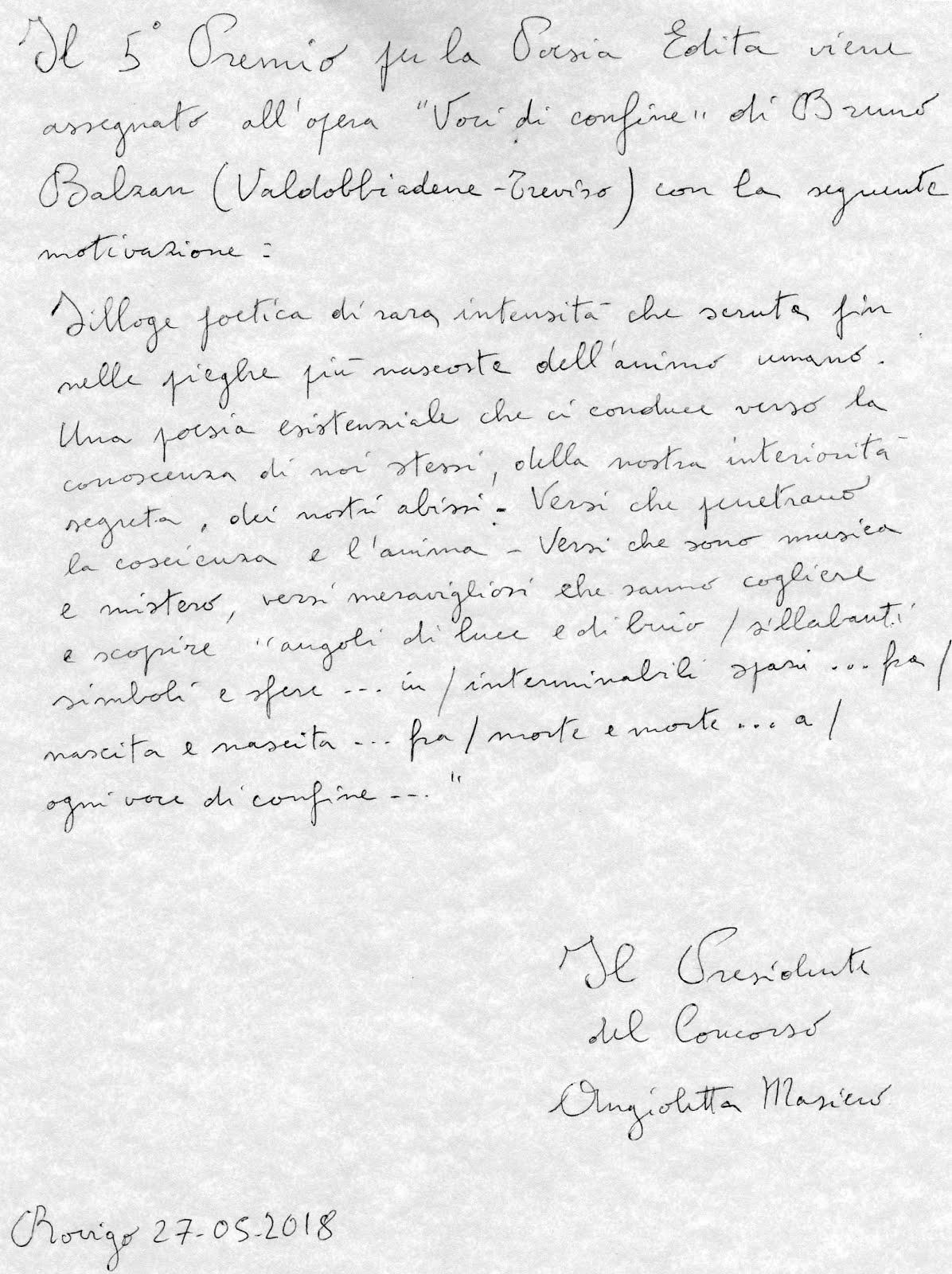 Premio G.A. Cibotto - 5^ Classificato per la poesia edita.