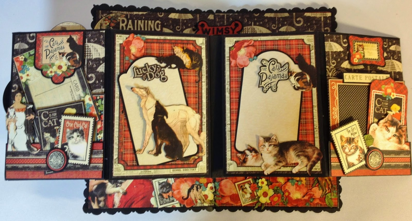 Annes Papercreations Graphic 45 Raining Cats And Dogs Roof Mini