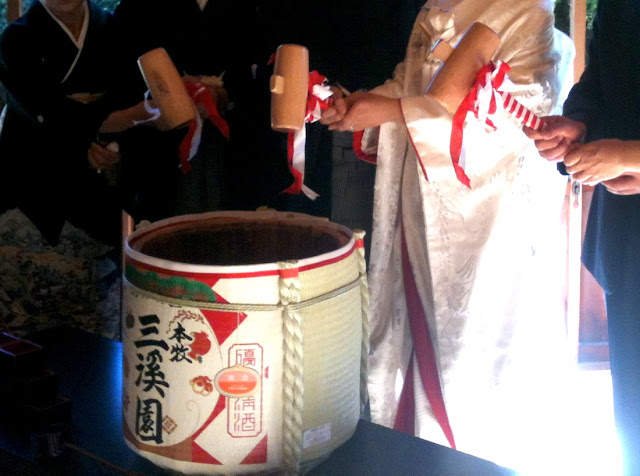 Traditional Japanese wedding ceremony sake wine