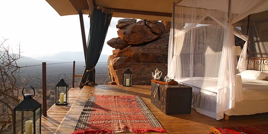 Safari Fusion blog | Four-poster beds | Safari style natural elements at Saruni Safari Lodge, Samburu Kenya