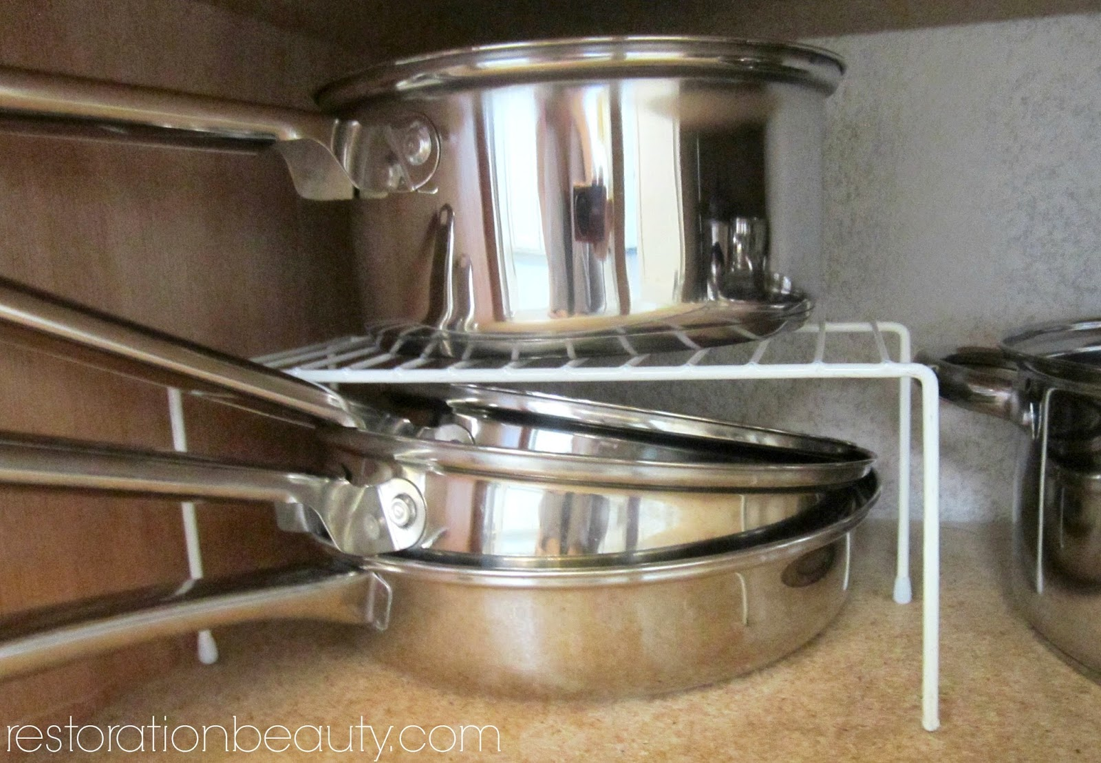 Restoration Beauty: Organizing Pots+Pans+Bake Ware With Dollar ...