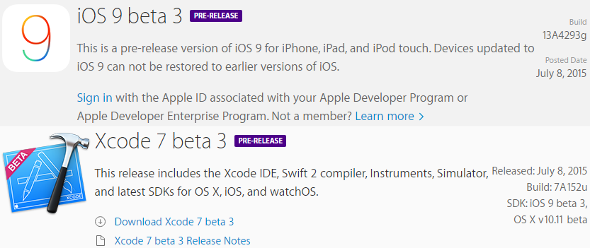 iOS 9 Beta 3 (Build-13A4293g) and Xcode 7 Beta 3 (Build-7A152u)