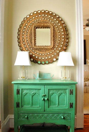 Turquoise Cabinet And Vintage Golden Peacock Mirror