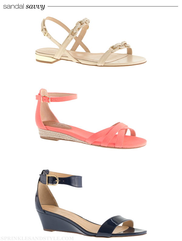 Sprinkles and Style || Friday's Fancies: J. Crew Sandal Savvy, J. Crew Collection Pave Chain Link, J. Crew Marina Mini-wedge Espadrilles, J. Crew Lillian Patent Low Wedges