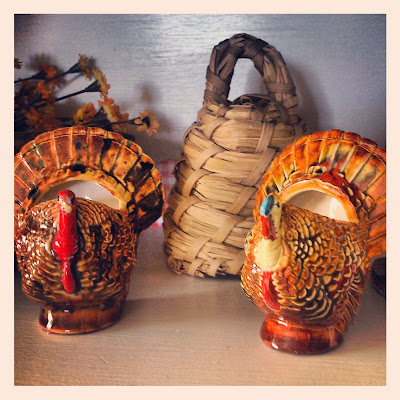 Turkey toothpick holders, vintage kitchen, Thanksgiving