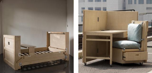 Cajas de madera que esconden muebles espacios en madera for Muebles con cajas de madera