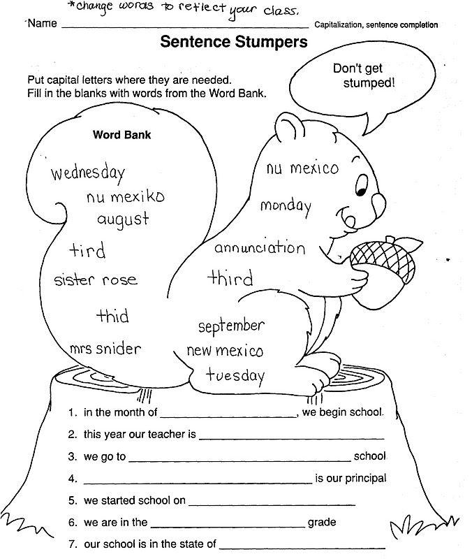 ELEMENTARY SCHOOL ENRICHMENT ACTIVITIES THANKSGIVING SKILL WORKSHEETS – Capitalization Worksheets Middle School