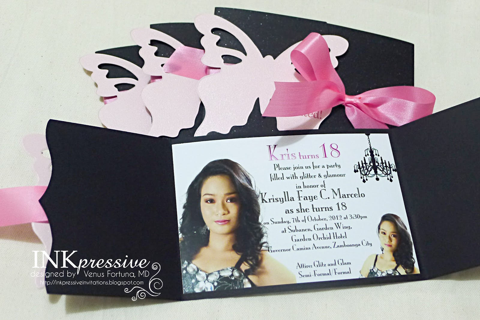 Glam Pink Butterfly | INKPRESSIVE INVITATIONS