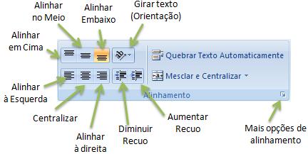 Opções de alinhamento Excel